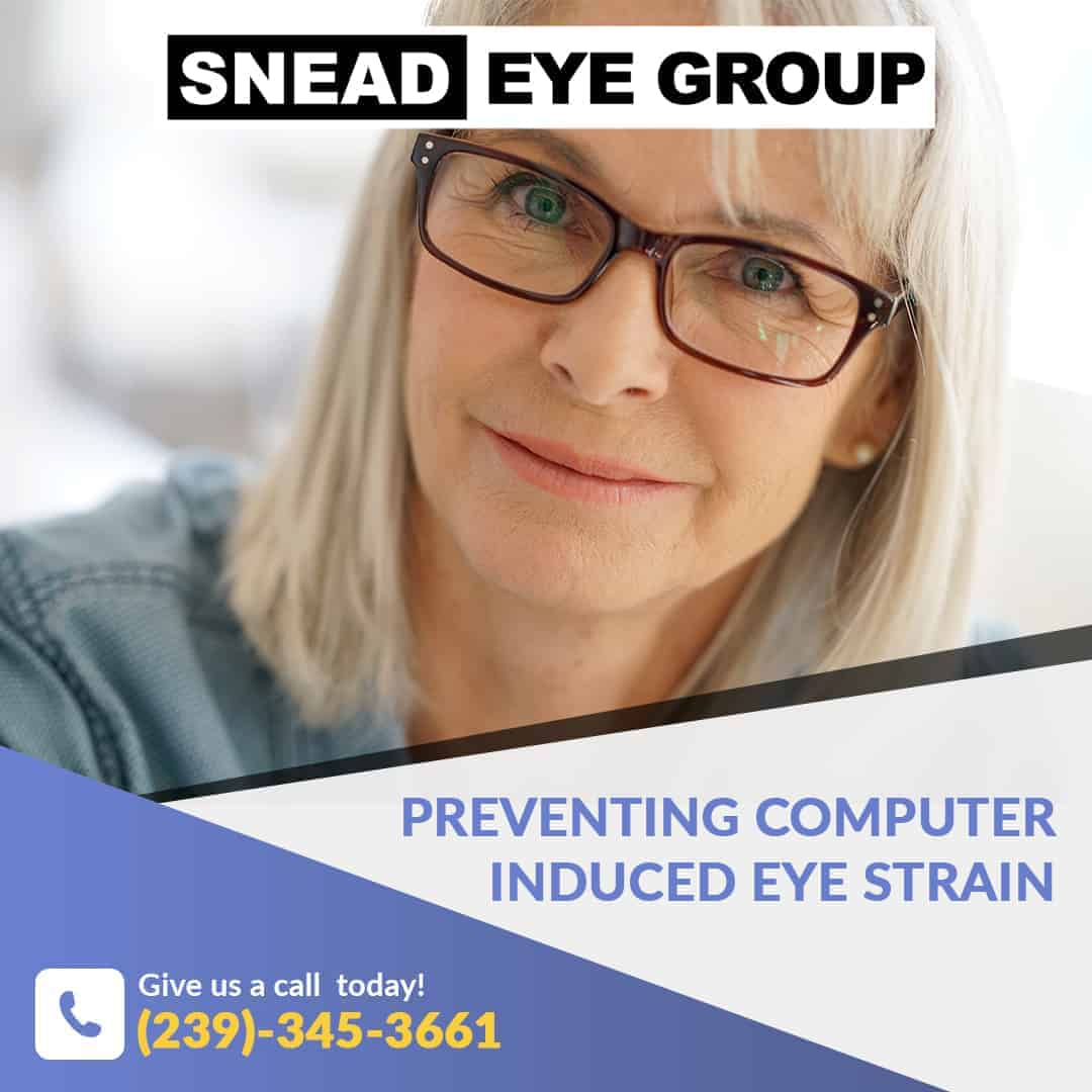 lady wearing glasses to prevent computer eye strain