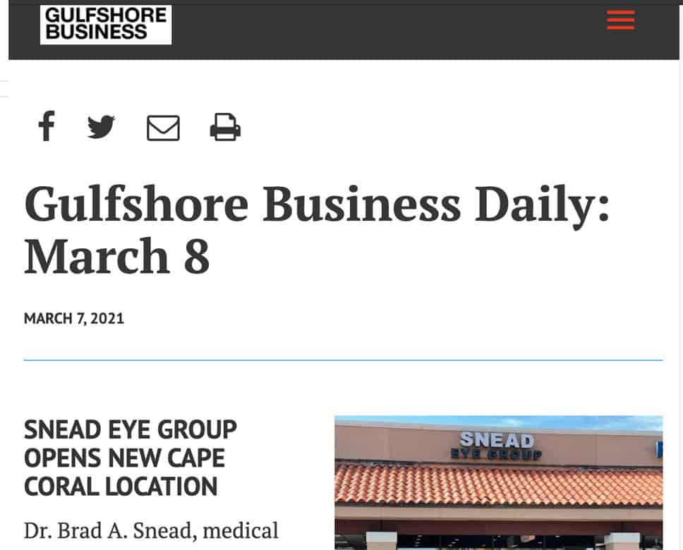 Gulfshore business features Snead Eye Group's Cape Coral office